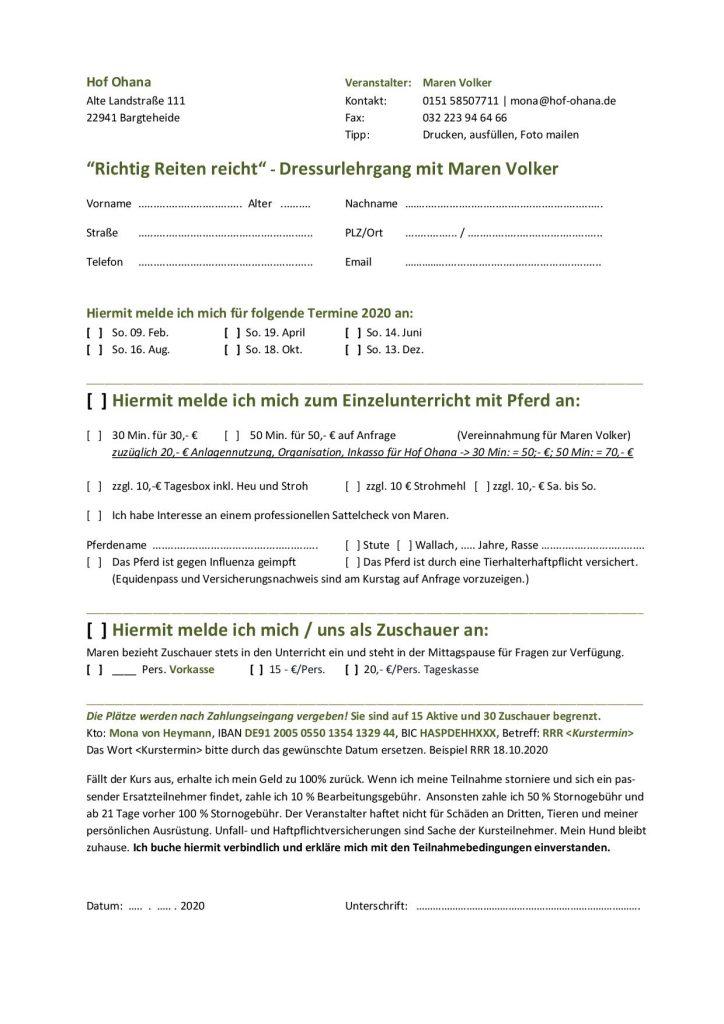 2020 RRR Maren Volker Anmeldeformular Dressurreiten